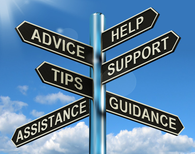 Your Business Grow Advice Help Support And Tips Signpost Showing Information Guidance